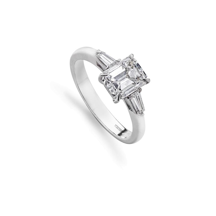 Emerald Cut & Tapered Baguette Cut 3 Stone Engagement Ring With Regard To Emerald Cut Engagement Rings With Tapered Baguette Side Stones (View 14 of 25)