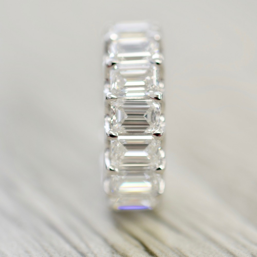Emerald Cut U Prong Eternity Band 8.00Cts In White Inside Most Up To Date Prong Set Emerald Cut Diamond Wedding Bands (Gallery 15 of 25)