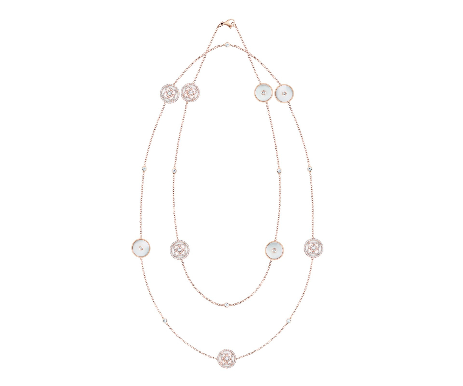 Enchanted Lotus Rose Gold & White Mother Of Pearl Sautoir Necklace In Most Up To Date Diamond Sautoir Necklaces In Yellow Gold (View 10 of 25)