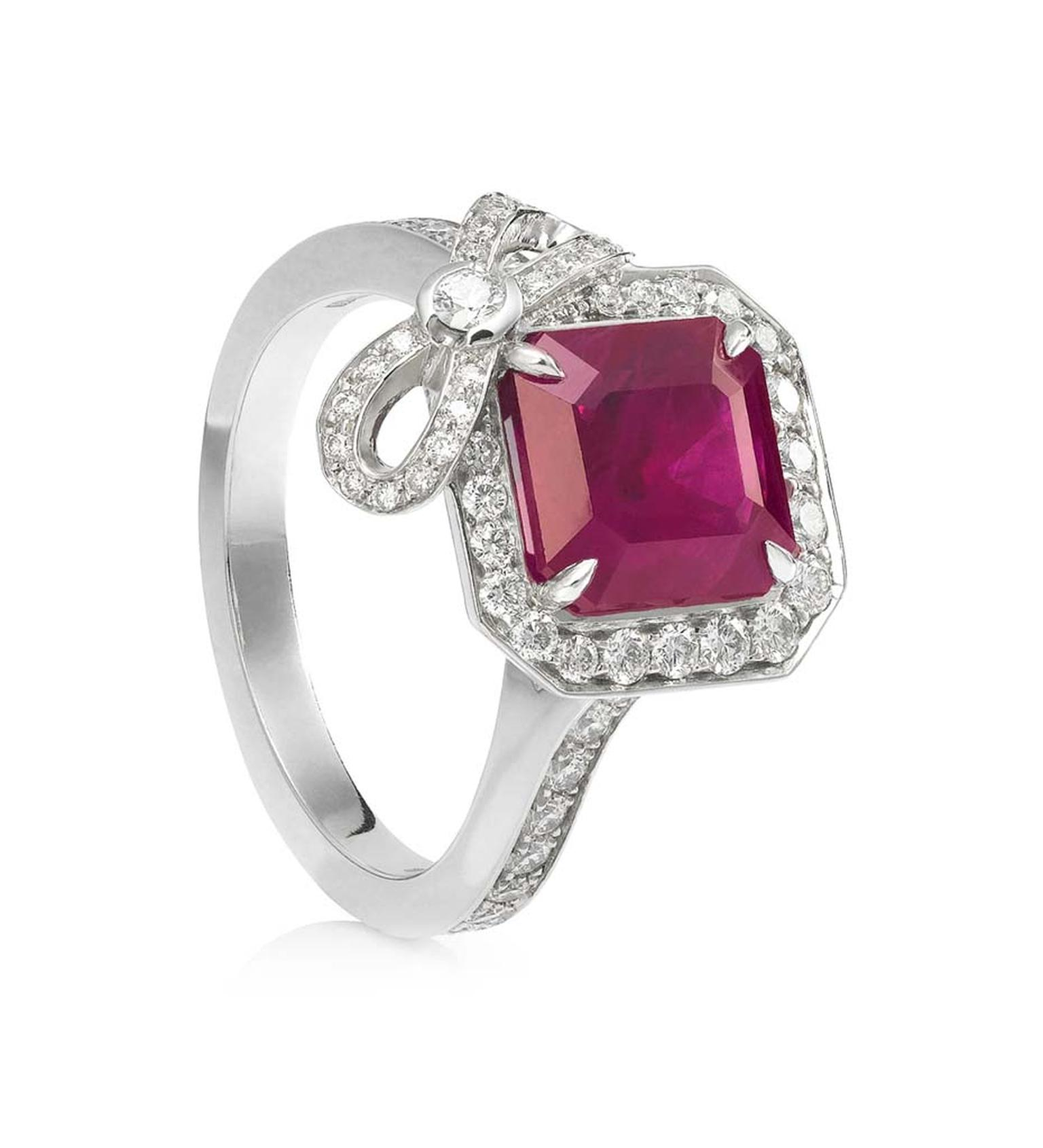Engage The Heart: The Colourful Appeal Of Ruby Engagement Intended For Heart Shaped Engagement Rings With Tapered Baguette Side Stones (View 24 of 25)