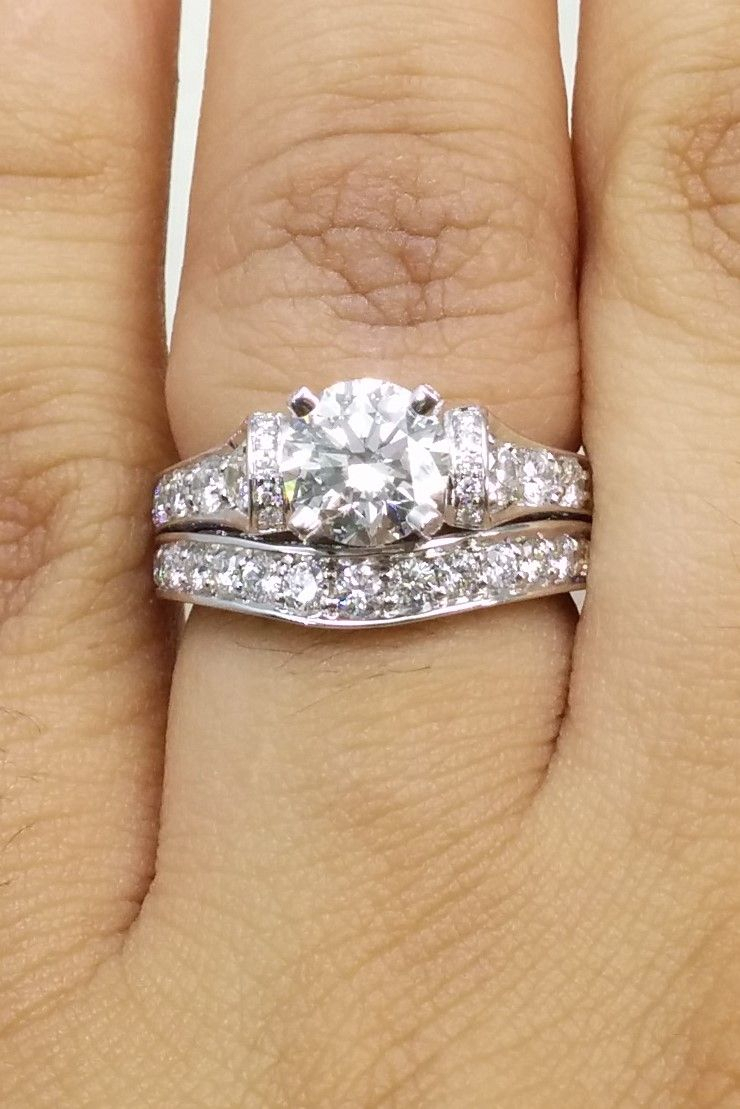 Engagement Ring  Large Cathedral Graduated Pave Diamond Intended For Current Micropavé Diamond Large Wedding Bands (Gallery 4 of 25)