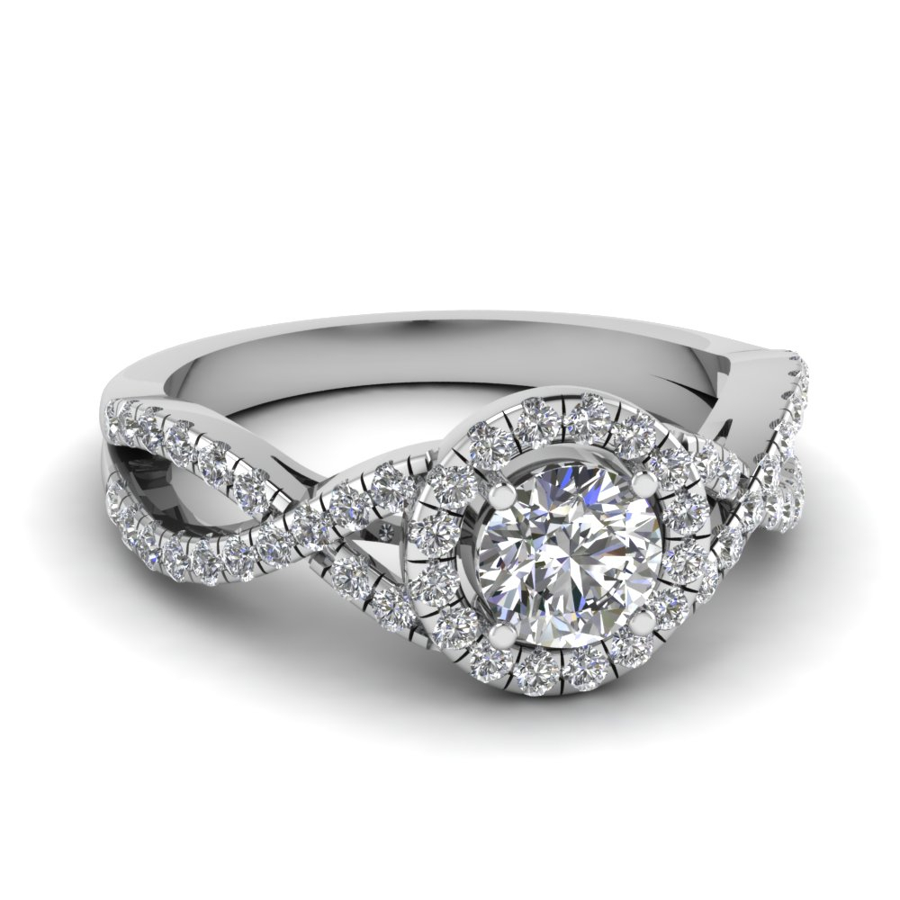 Entwined Halo Diamond Ring For Round Brilliant Diamond Engagement Rings (View 17 of 25)