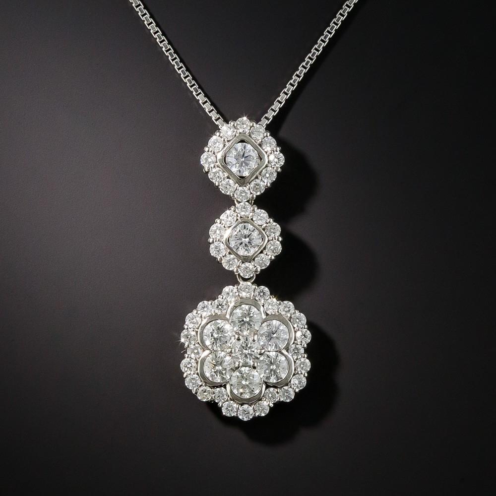 Estate Platinum Diamond Pendant Necklace Regarding Latest Diamond Necklaces In Platinum (Gallery 22 of 25)