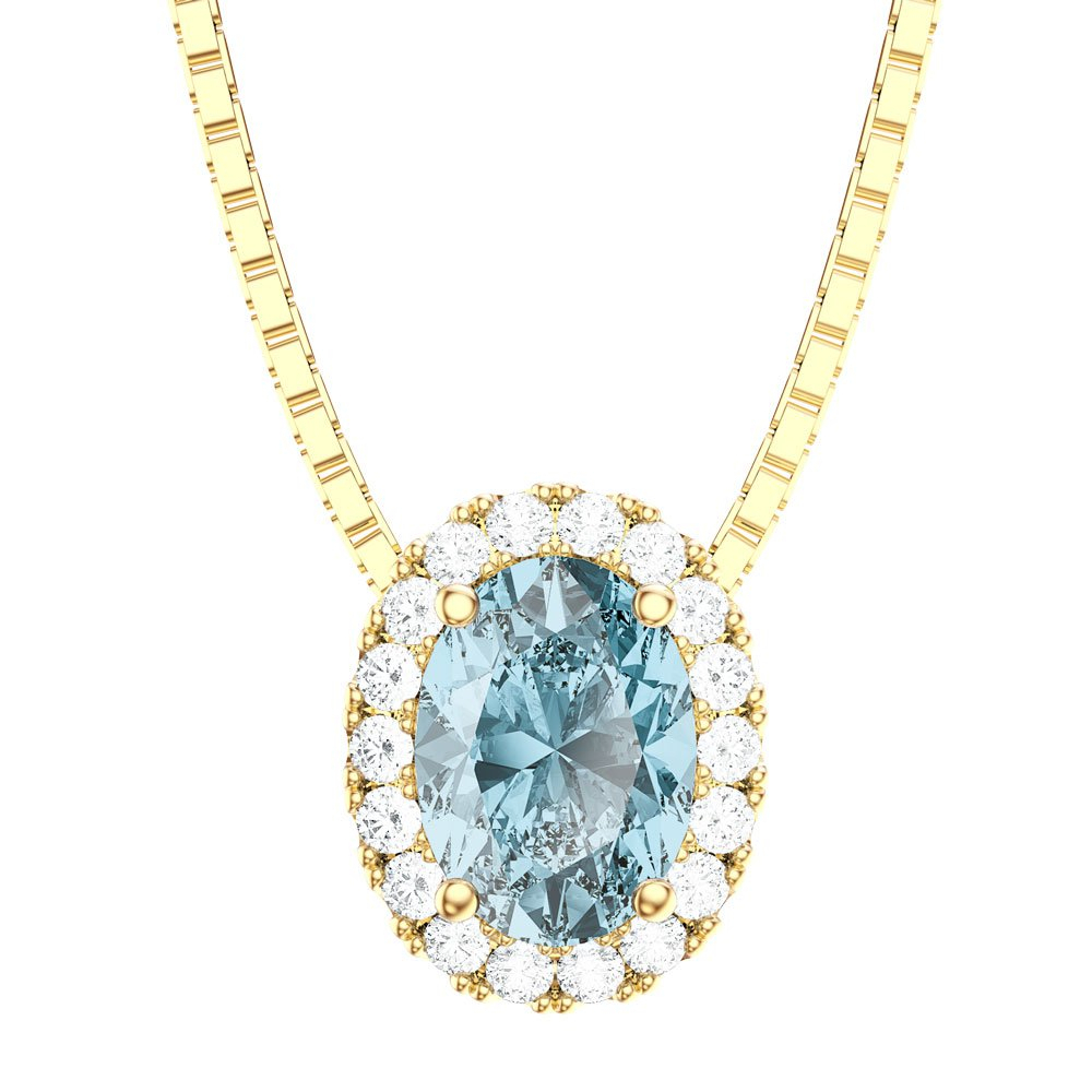 Eternity Aquamarine 18Ct Gold Vermeil Halo Oval Pendant Within Most Up To Date Sapphire, Aquamarine And Diamond Necklaces (View 13 of 25)