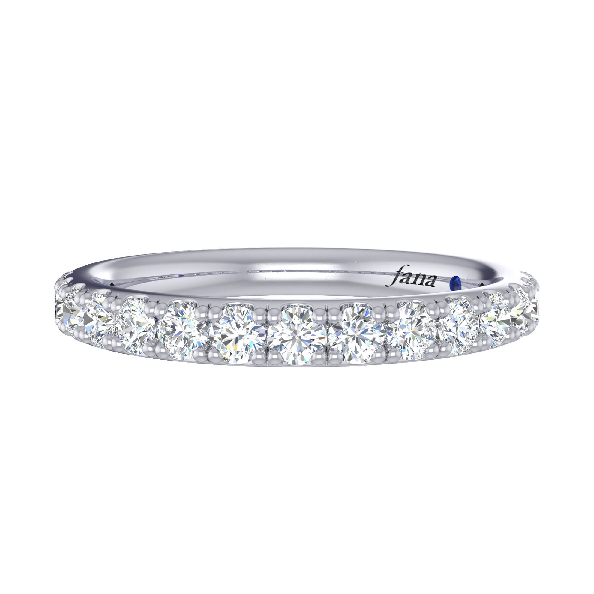 Fana Prong Set Diamond Wedding Ring Pertaining To Most Current Prong Set Round Brilliant Sapphire And Diamond Wedding Bands (View 19 of 25)