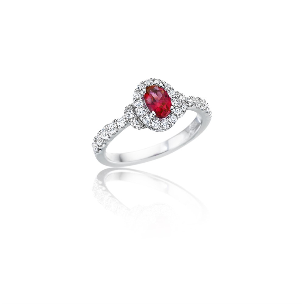 Fana – Prong Set Oval Ruby And Pave Halo Diamond Ring – R1604R Wg – Solomon Brothers Pertaining To 2018 Prong Set Round Brilliant Ruby And Diamond Wedding Bands (Gallery 24 of 25)