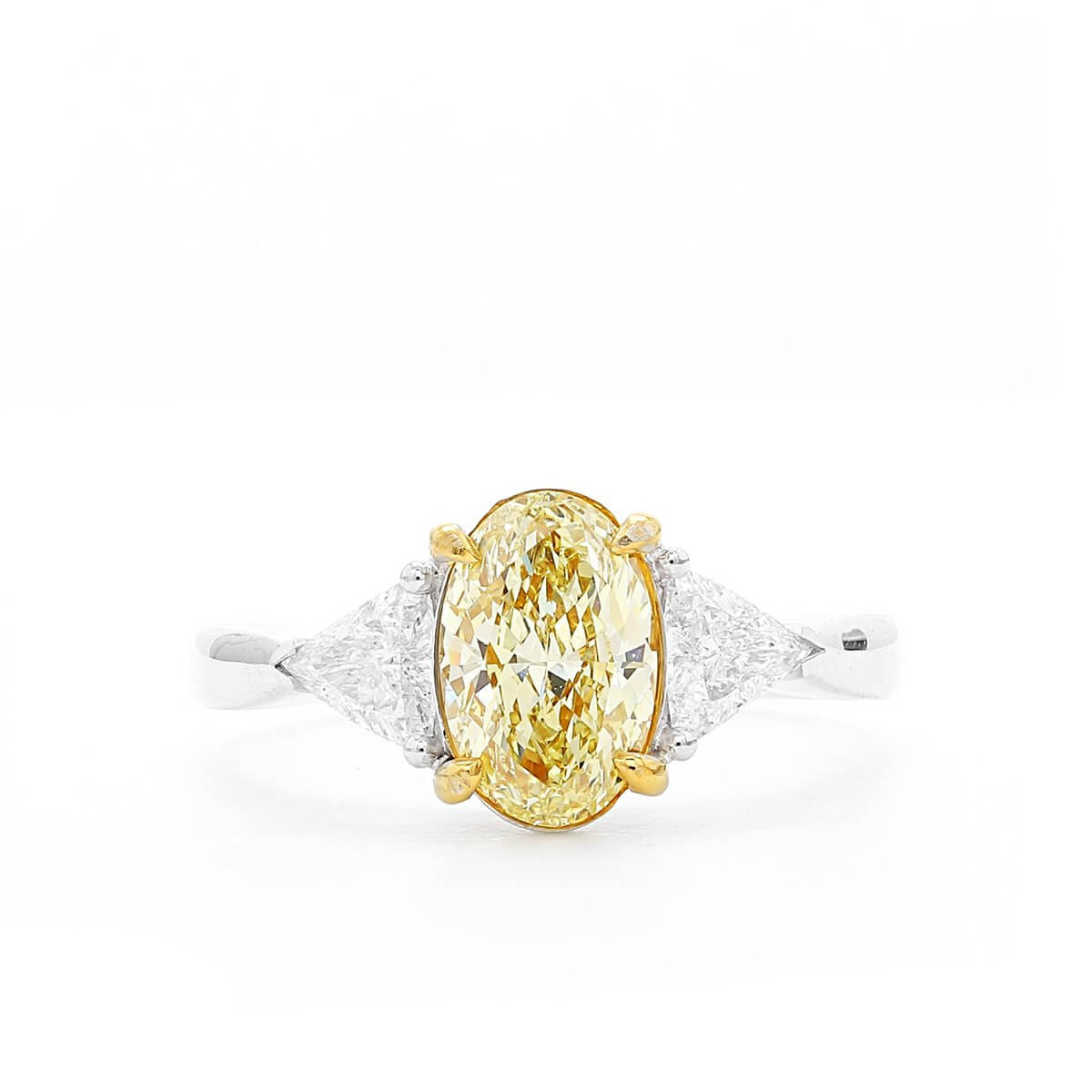Fancy Yellow Diamond Ring, 1.26 Ct. (1.70 Ct. Tw), Oval Shape, Gia  Certified, 6245017997 Throughout Oval Shaped Yellow Diamond Rings (Gallery 5 of 25)