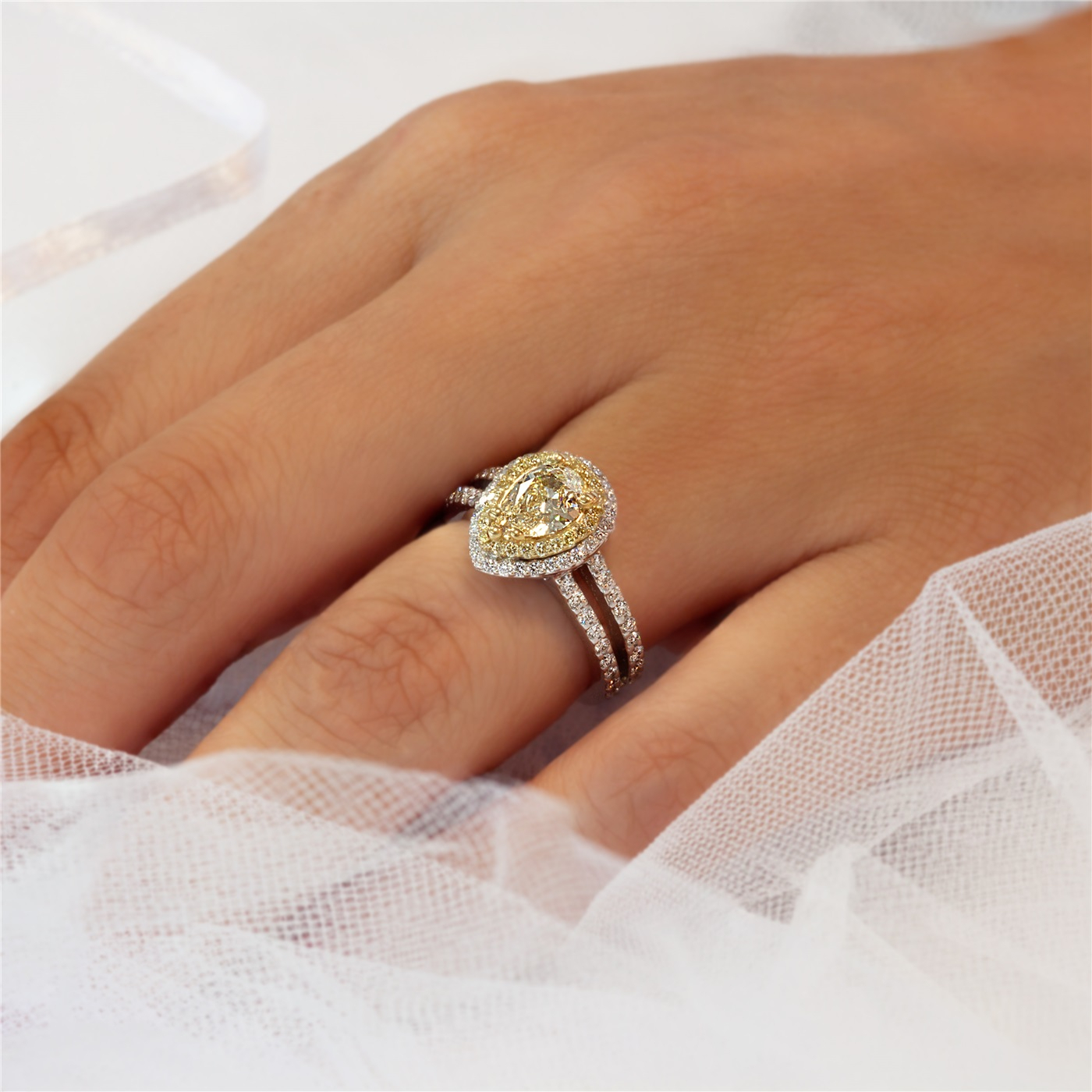 Fancy Yellow Pear Shaped Diamond Ring – Pear Shape Yellow Diamond  Engagement Ring Pertaining To Pear Shaped Engagement Rings (Gallery 25 of 25)