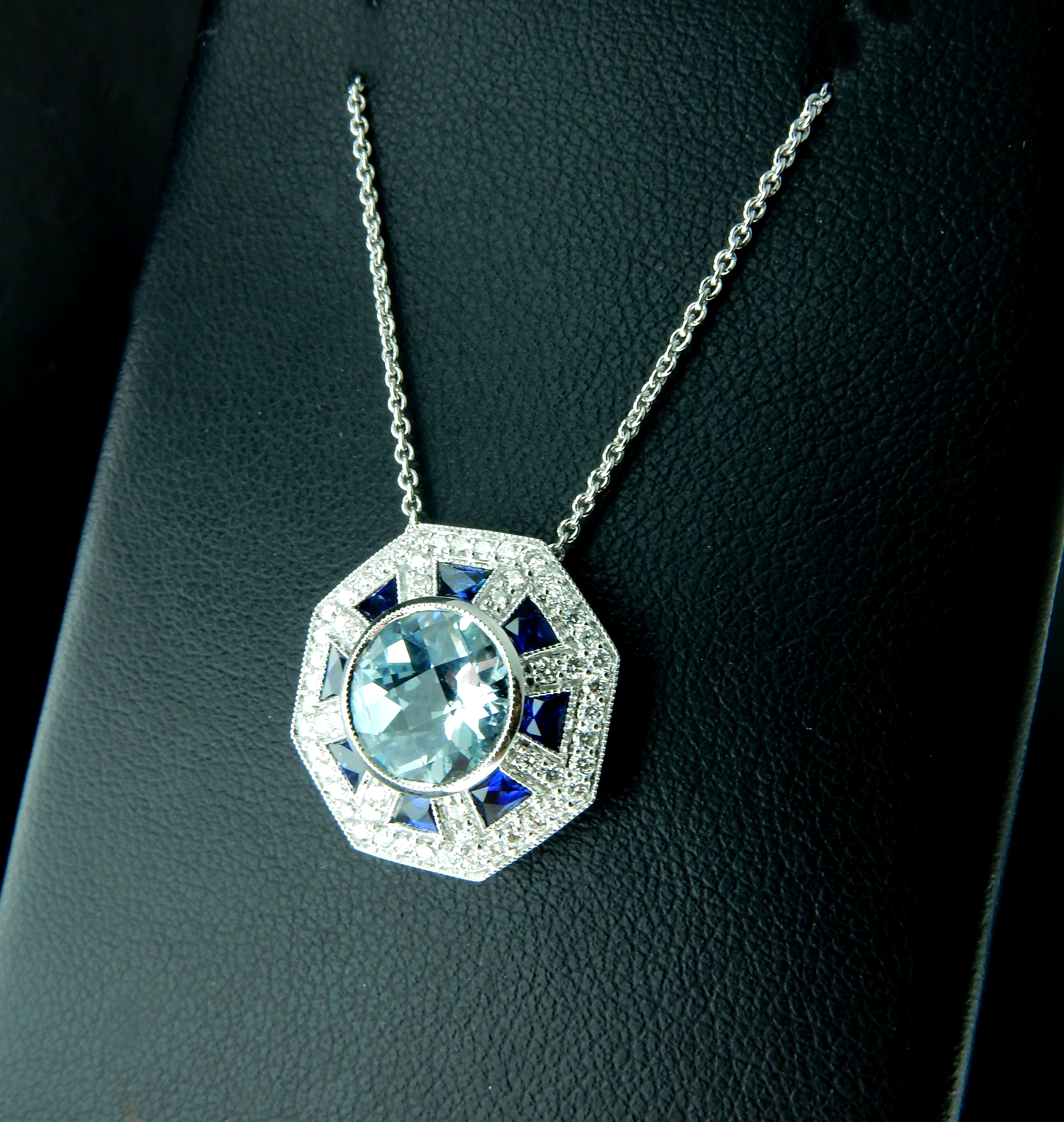Ferro Jewelers – Estate Jewelry | Aquamarine, Sapphire And In Latest Sapphire, Aquamarine And Diamond Necklaces (View 14 of 25)