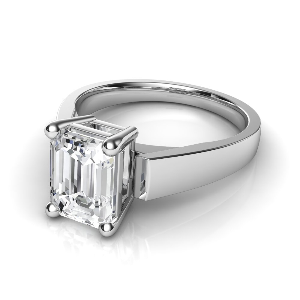 Flat Edge Cathedral Emerald Cut Solitaire Diamond Engagement Ring For Solitaire Emerald Cut Engagement Rings (View 6 of 25)