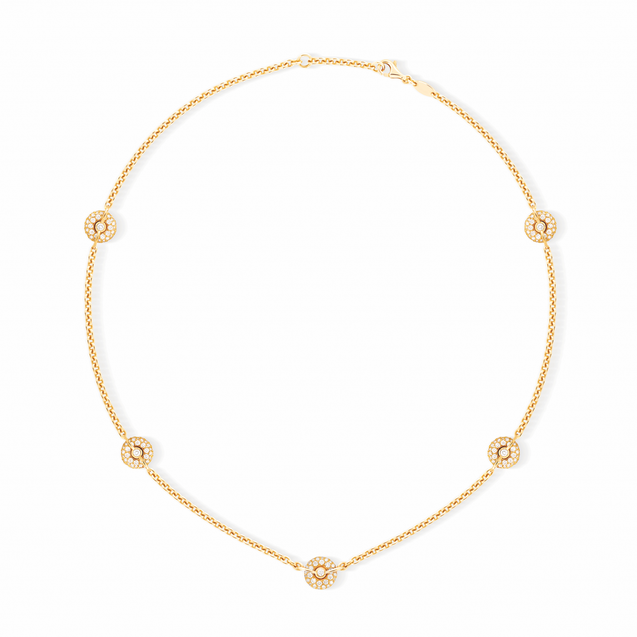 [:fr]Collier Chaine Or Jaune Pavage Diamants[:en]Yellow Gold Chain Necklace  With Diamonds[:] Inside 2019 Yellow Gold Diamond Sautoir Necklaces (View 1 of 25)