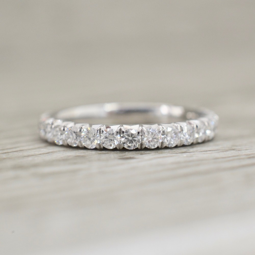 French Pavé Eternity Band 2.5Mm 1.1Ct In White Within 2018 Micropavé Diamond Dome Wedding Bands (Gallery 9 of 25)