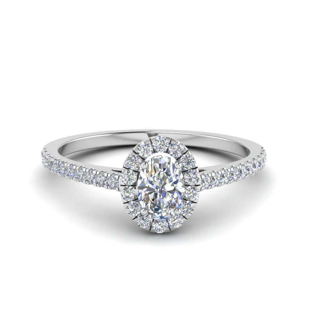 French Pave Oval Shaped Diamond Halo Engagement Ring In 14k White Gold Regarding Oval Shaped Engagement Rings (View 3 of 25)