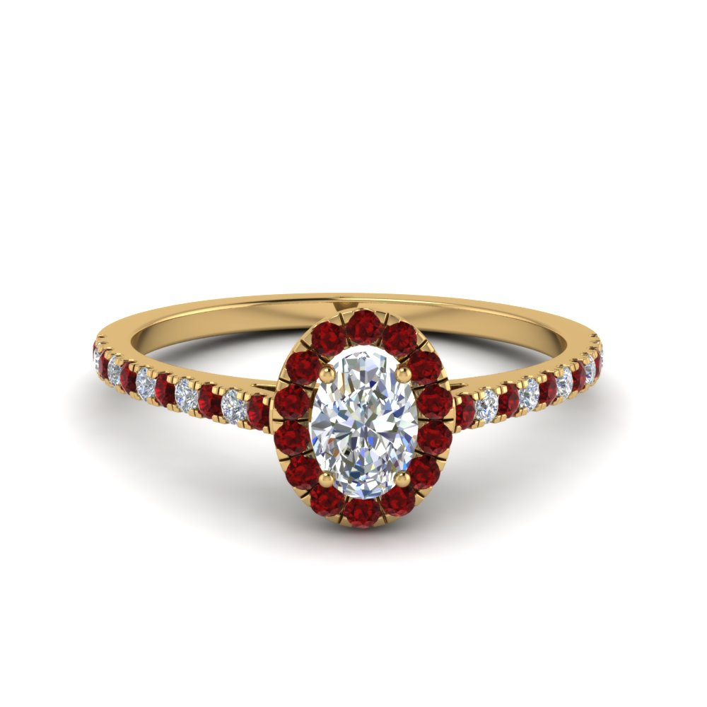 French Pave Oval Shaped Diamond Halo Engagement Ring With Ruby In 14K  Yellow Gold Within Oval Shaped Ruby Micropavé Rings (View 9 of 25)