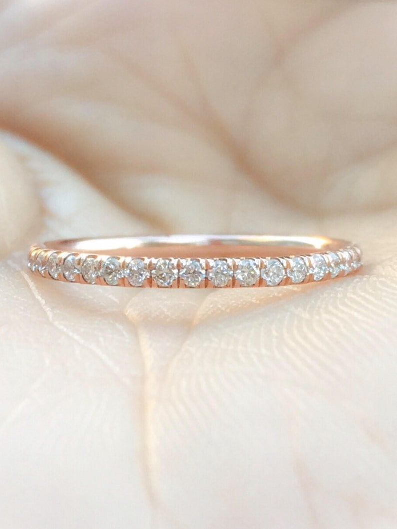 Full Eternity Pave Diamond Band 14K Solid Rose Gold Diamond Wedding Band 1.6Mm Matching Band Diamond Infinity Ring Delicate Stacking Band In Most Recently Released Full Micropavé Diamond Wedding Bands (Gallery 19 of 25)