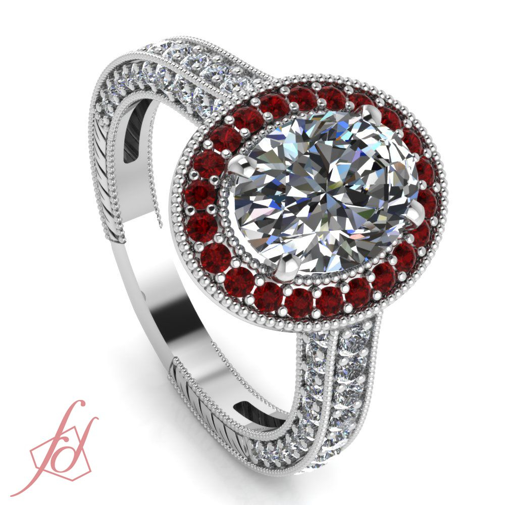 Gleaming Milgrain Ring | **sparkle Shimmer And Shine Intended For Oval Shaped Ruby Micropavé Rings (View 24 of 25)