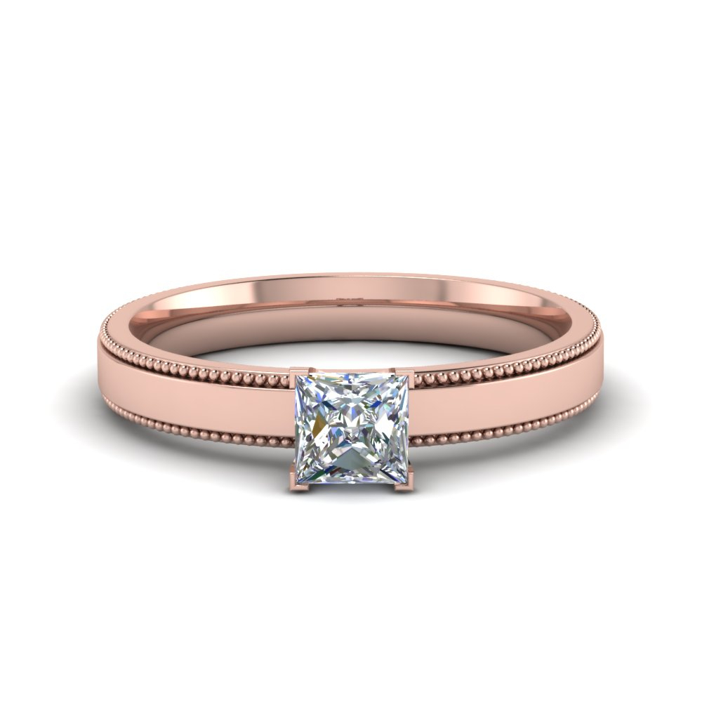 Glossy Band Ring Throughout 2018 Princess Cut Single Diamond Wedding Bands In Rose Gold (View 15 of 25)