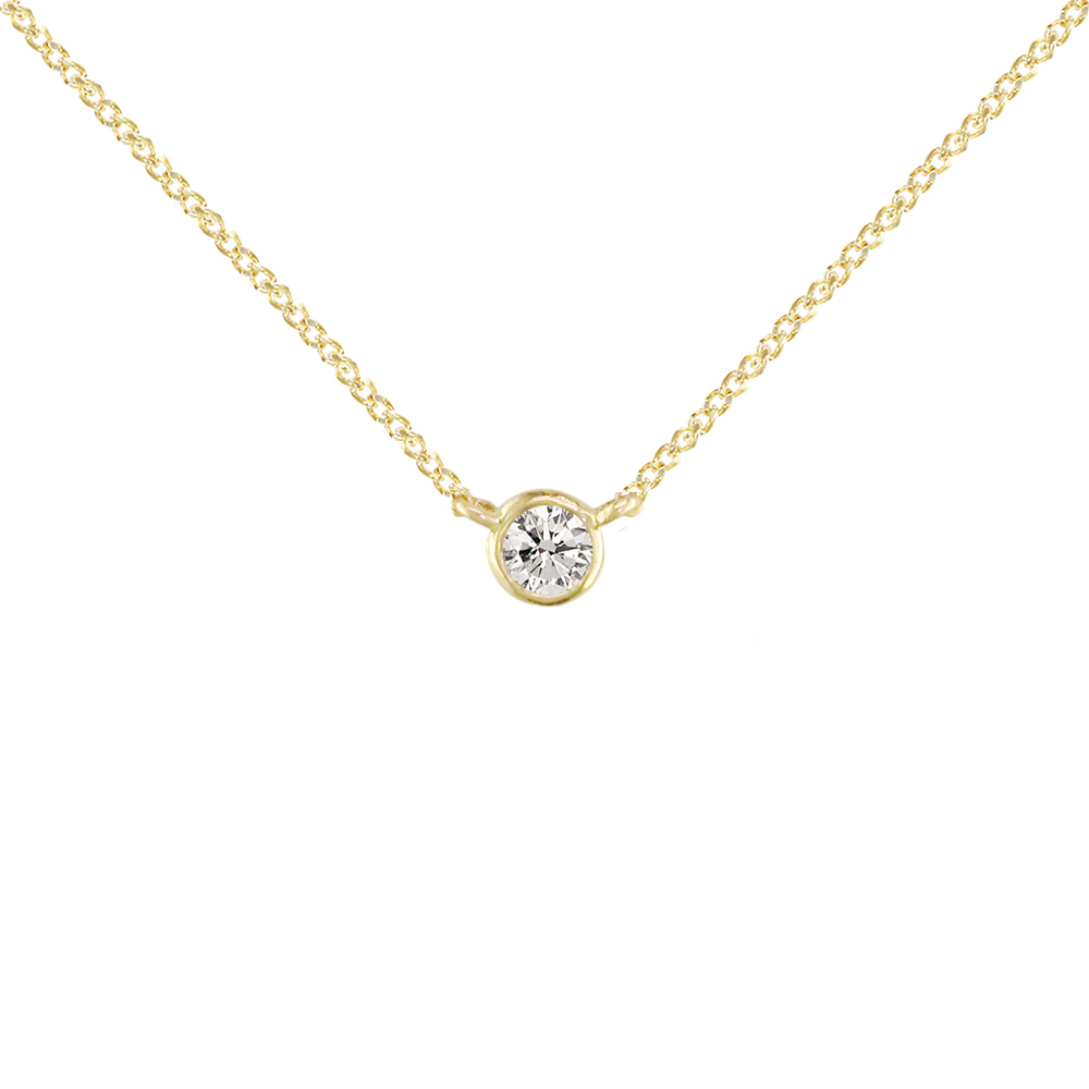 Gold Solitaire Diamond Pendant Necklace Regarding 2019 Diamond Necklaces In Yellow Gold (View 2 of 25)