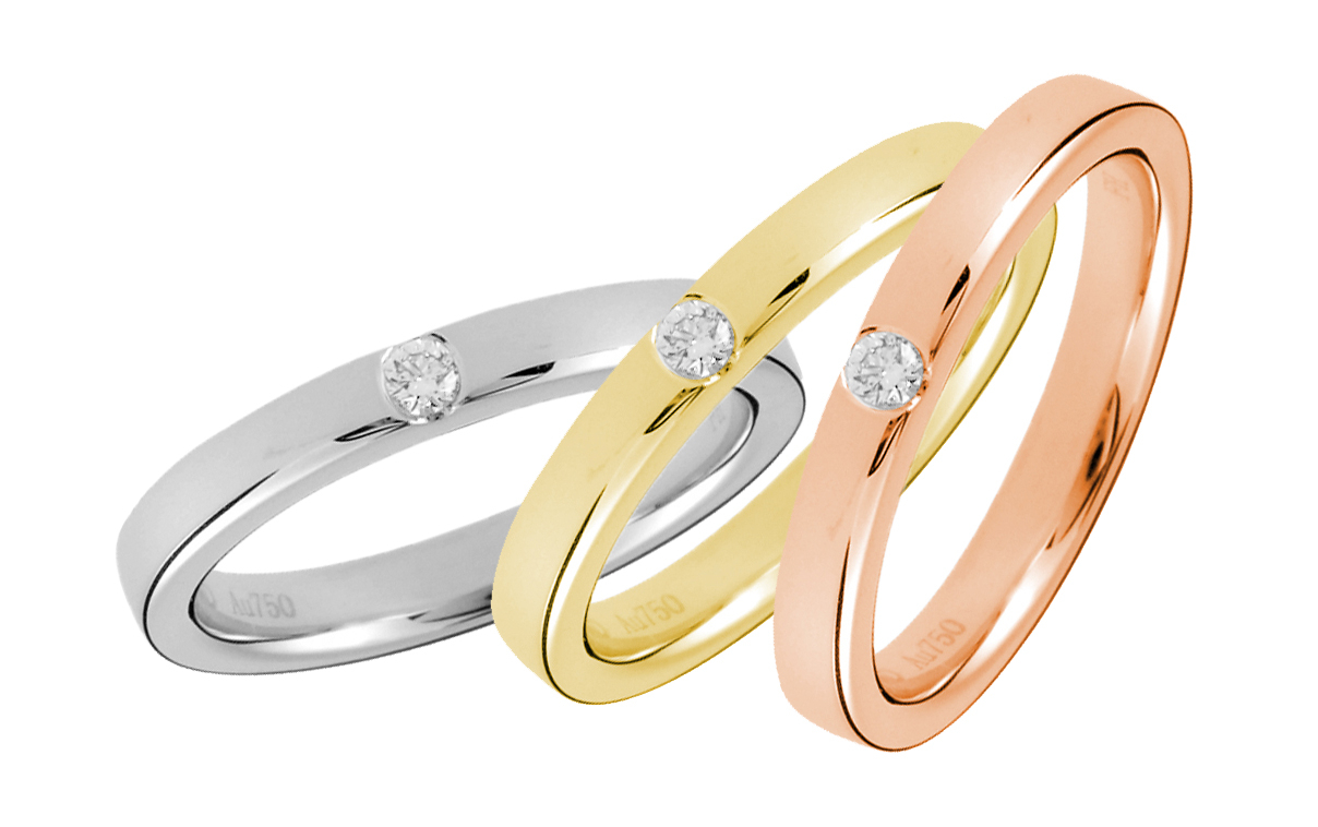 Gold Wedding Rings – A Classy Choice In Latest Round Brilliant Single Diamond Wedding Bands (View 23 of 25)