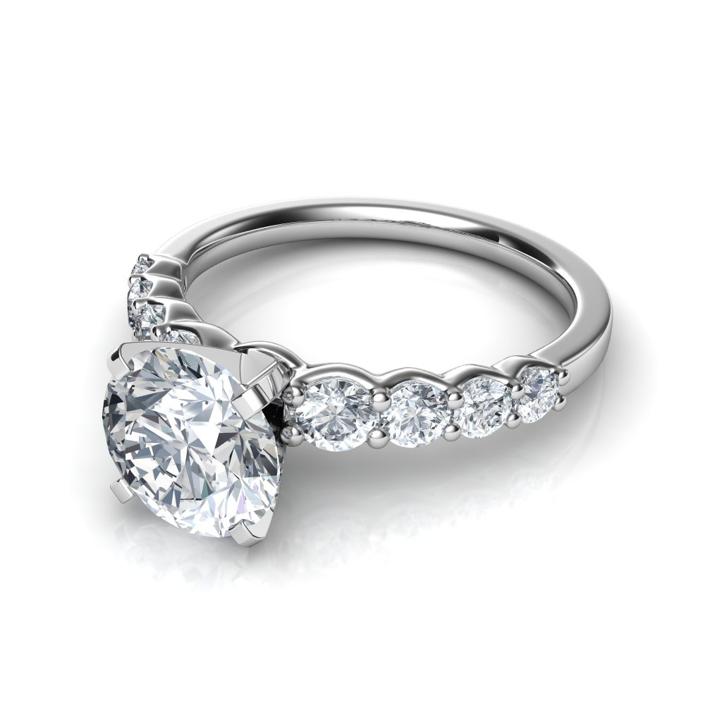 Graduated Side Stone Round Cut Diamond Engagement Ring Intended For Round Brilliant Diamond Engagement Rings (View 13 of 25)