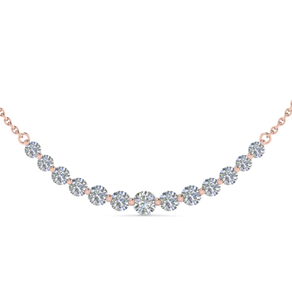 Graduated Straight Line Diamond Necklace Throughout Most Popular Round Brilliant Diamond Straightline Necklaces (View 17 of 25)