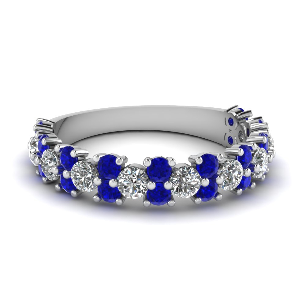 Half Eternity Wedding Band With Most Recent Prong Set Round Brilliant Sapphire And Diamond Wedding Bands (View 8 of 25)