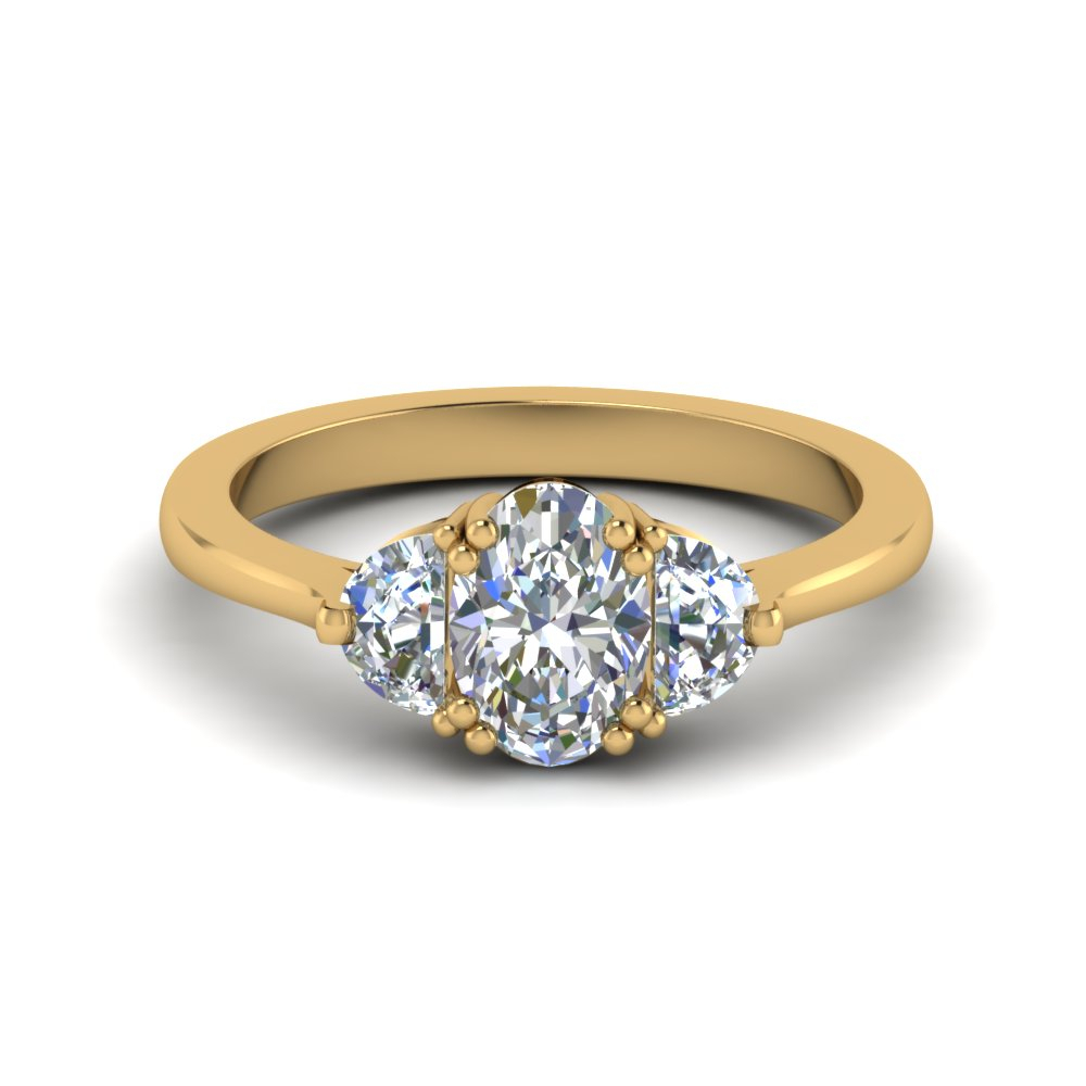 Half Moon 3 Oval Diamond Ring In Oval Shaped Yellow Diamond Rings (View 11 of 25)