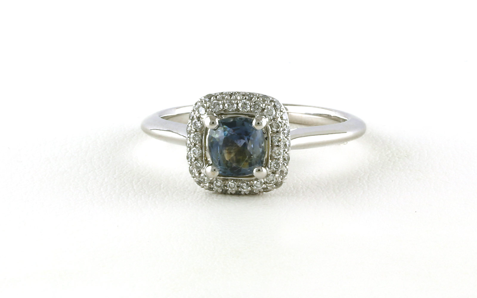Halo Style Cushion Cut Montana Sapphire Ring In White Gold Within Cushion Cut Sapphire Rings (View 19 of 25)