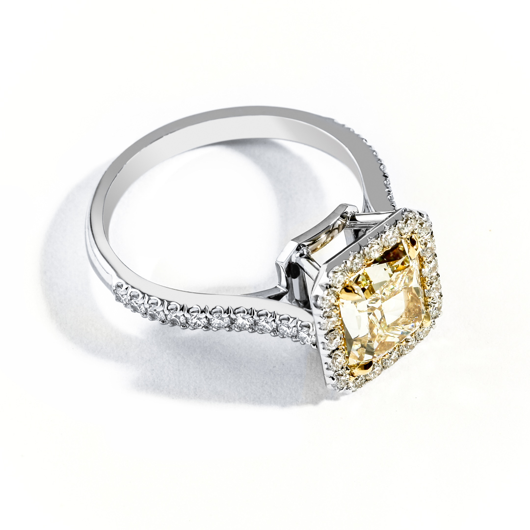 Halo Yellow Diamond Engagement Ring For Radiant Yellow Diamond Rings (Gallery 20 of 25)