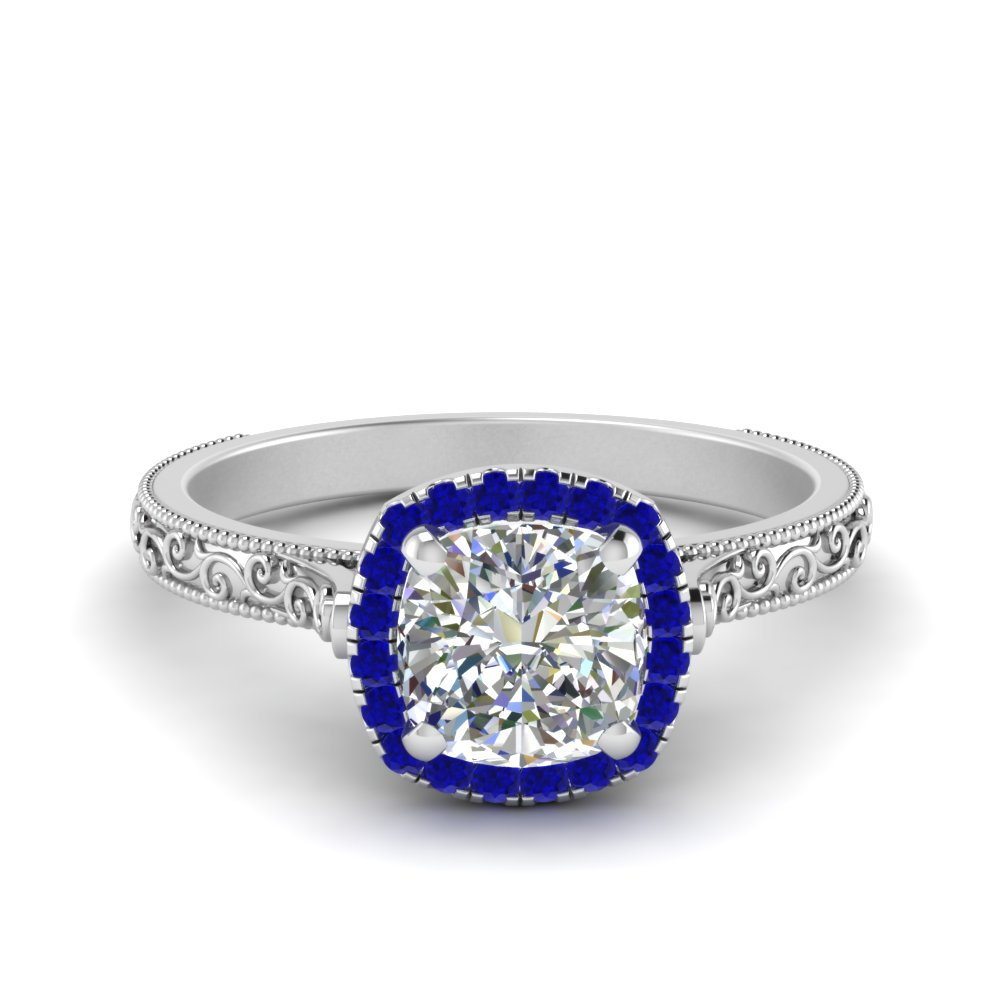 Hand Engraved Cushion Halo Engagement Ring Throughout Cushion Cut Sapphire Rings (View 20 of 25)