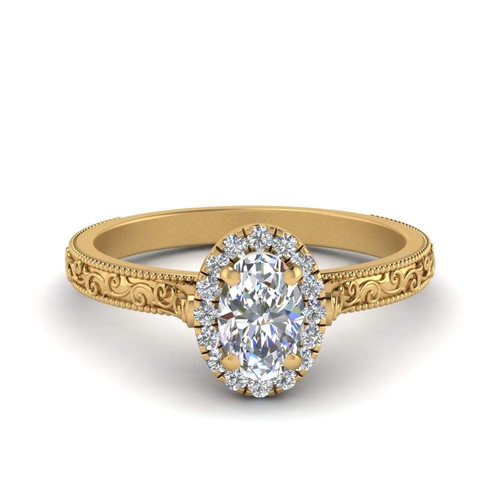 Hand Engraved Oval Shaped Halo Engagement Ring Pertaining To Oval Shaped Yellow Diamond Rings (View 16 of 25)
