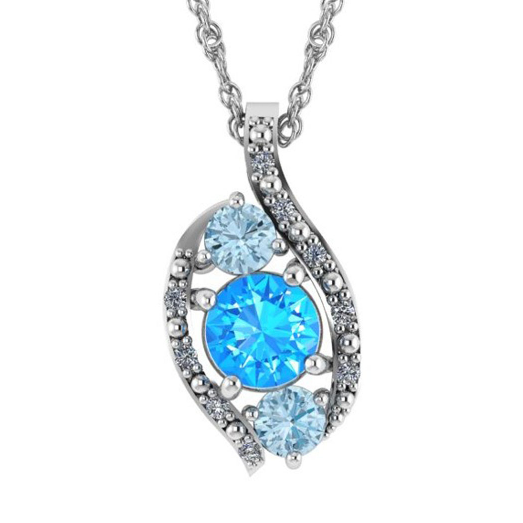 Hanna Necklace In Swiss Blue Topaz And Aquamarine For Best And Newest Sapphire, Aquamarine And Diamond Necklaces (View 15 of 25)