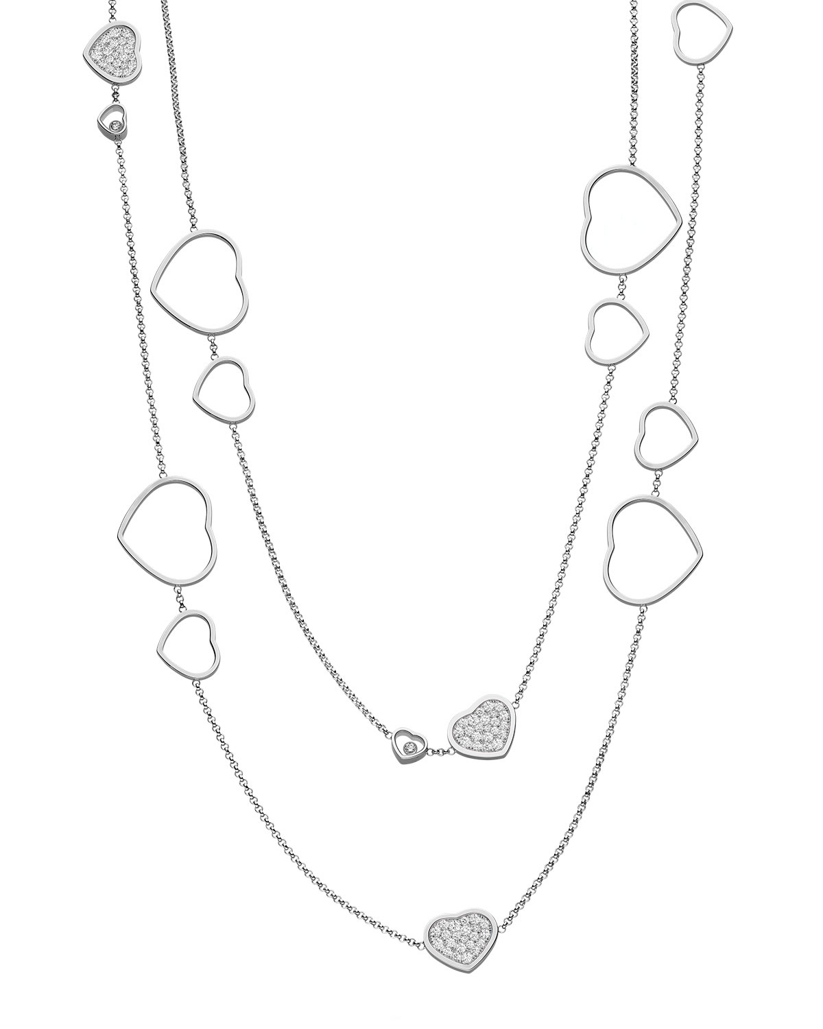 Happy Hearts 18K White Gold Diamond Long Station Necklace Throughout Newest White Gold Diamond Sautoir Necklaces (Gallery 8 of 25)
