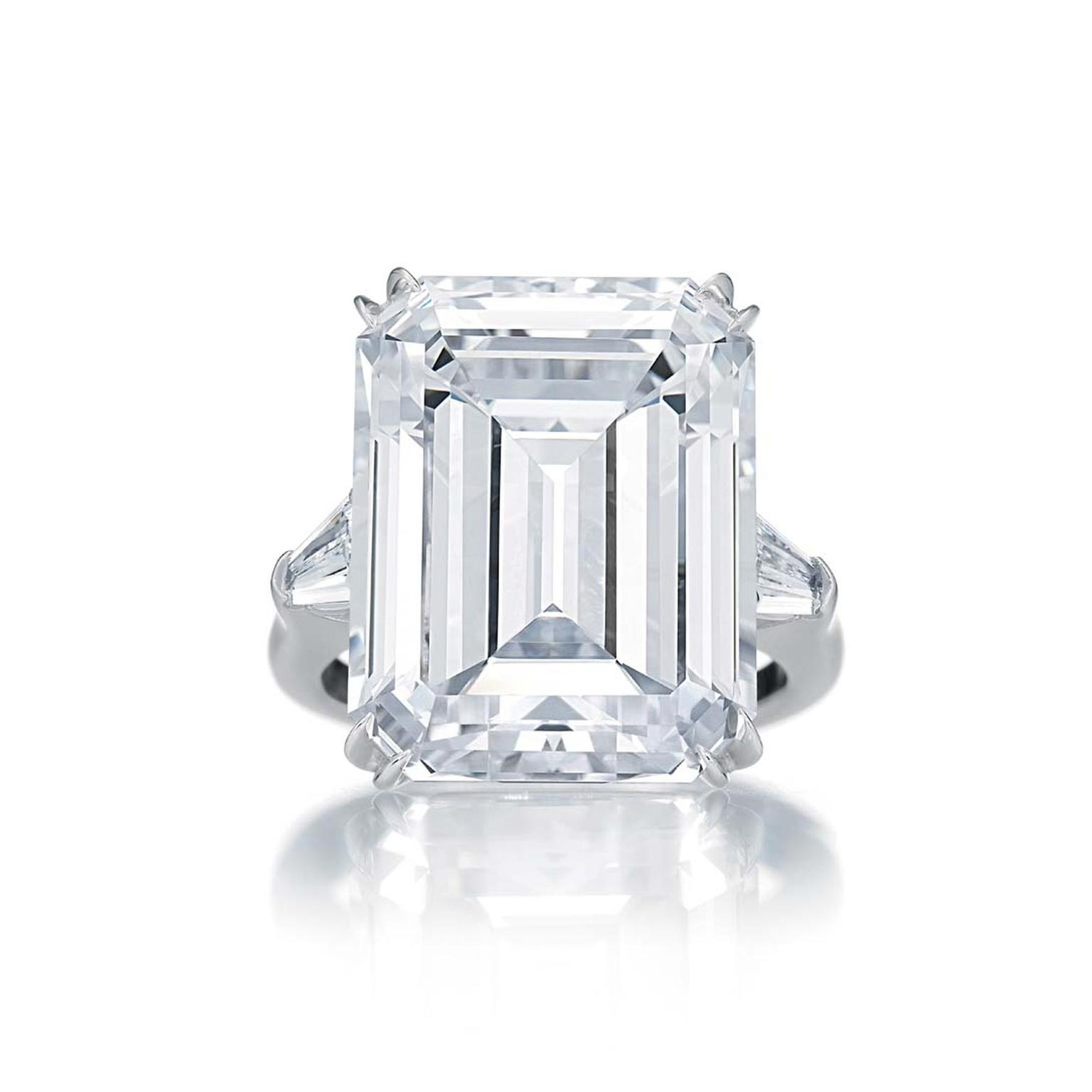Harry Winston Classic Winston Emerald Cut Diamond Engagement Inside Emerald Cut Engagement Rings With Tapered Baguette Side Stones (View 5 of 25)