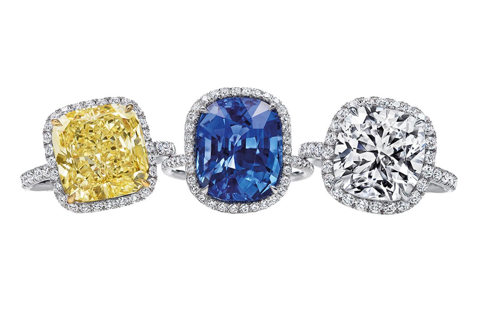 Harry Winston Cushion Cut Yellow Diamond, Sapphire And Regarding Cushion Cut Yellow Diamond Micropavé Rings (View 2 of 25)