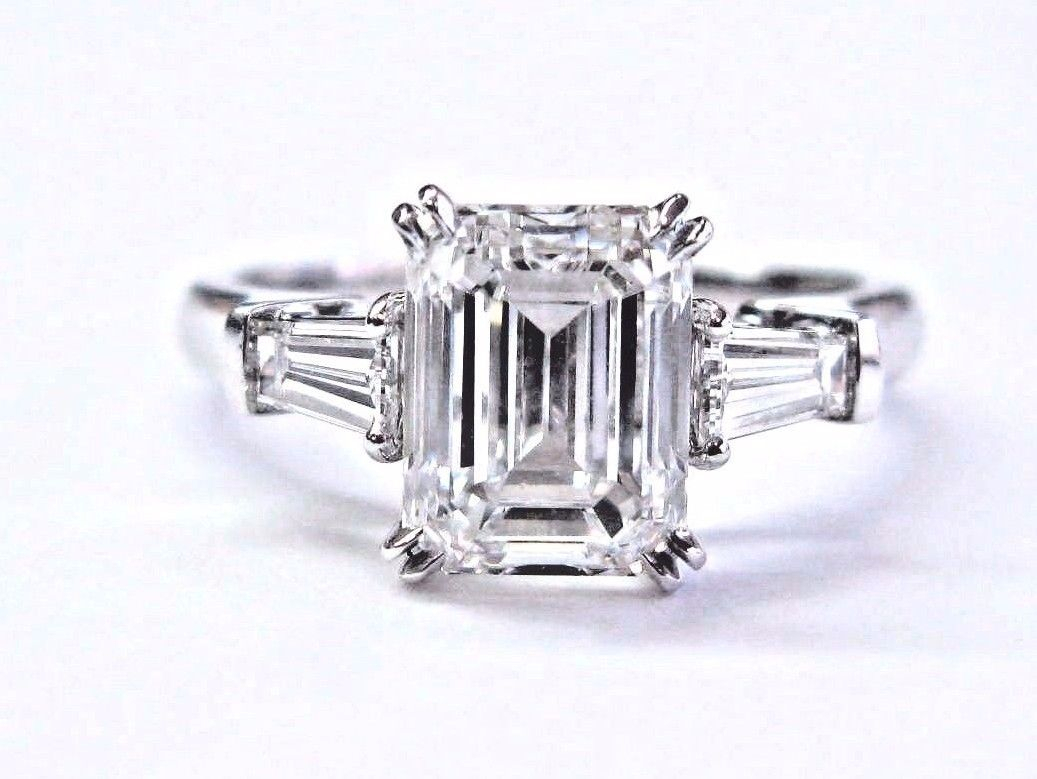 Harry Winston Emerald & Baguette Cut Diamond 3 Stone Platinum Ring 2.89Ct  E Vvs2 Pertaining To Emerald Cut Engagement Rings With Tapered Baguette Side Stones (Gallery 21 of 25)