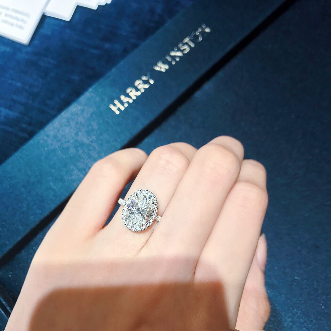 Harry Winston Oval Halo Micropave Engagement Ring | Wedding Pertaining To Oval Shaped Ruby Micropavé Rings (View 7 of 25)