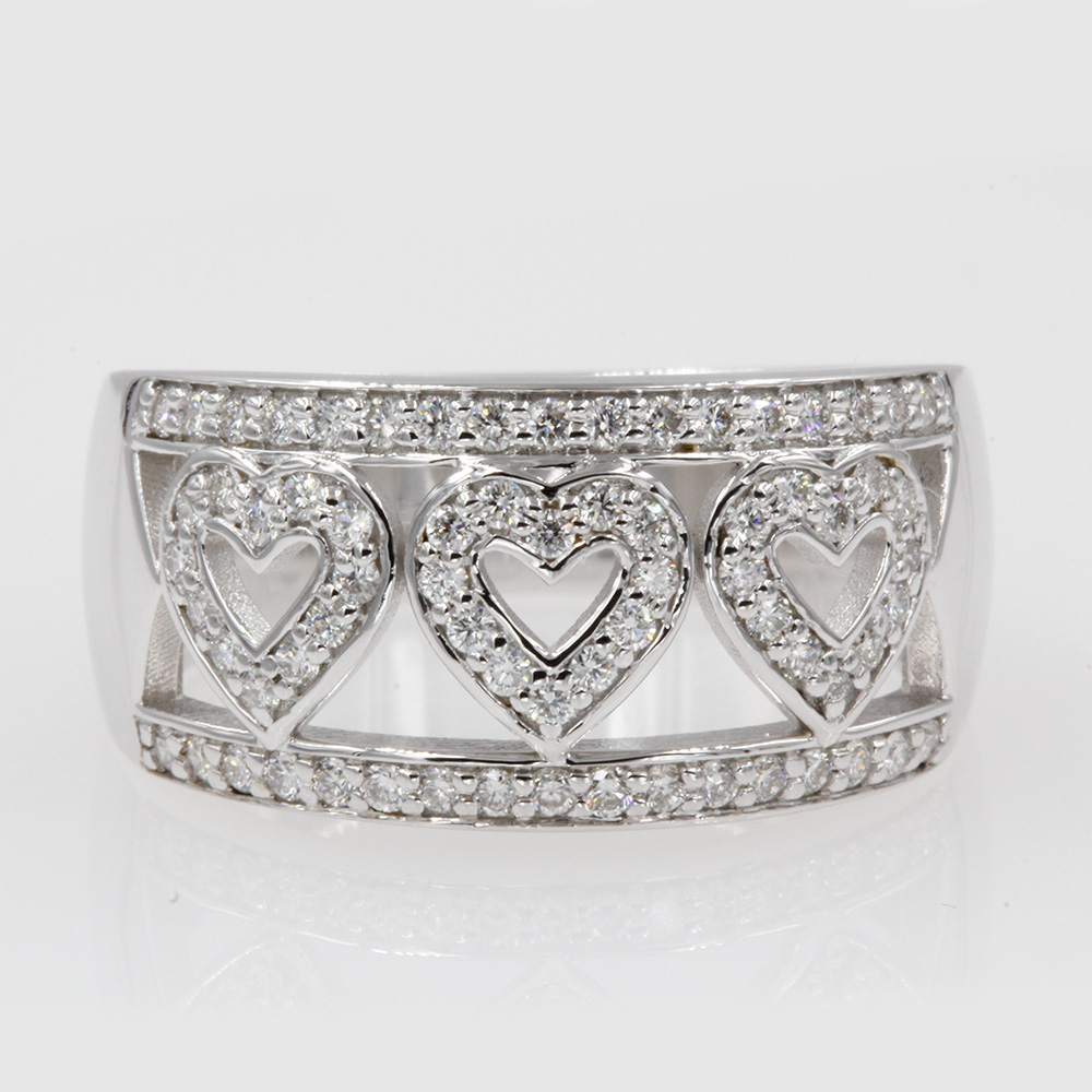 Heart Design Wide Diamond Wedding Band In 18k White Gold Throughout 2017 Wide Diamond Wedding Bands (View 4 of 25)