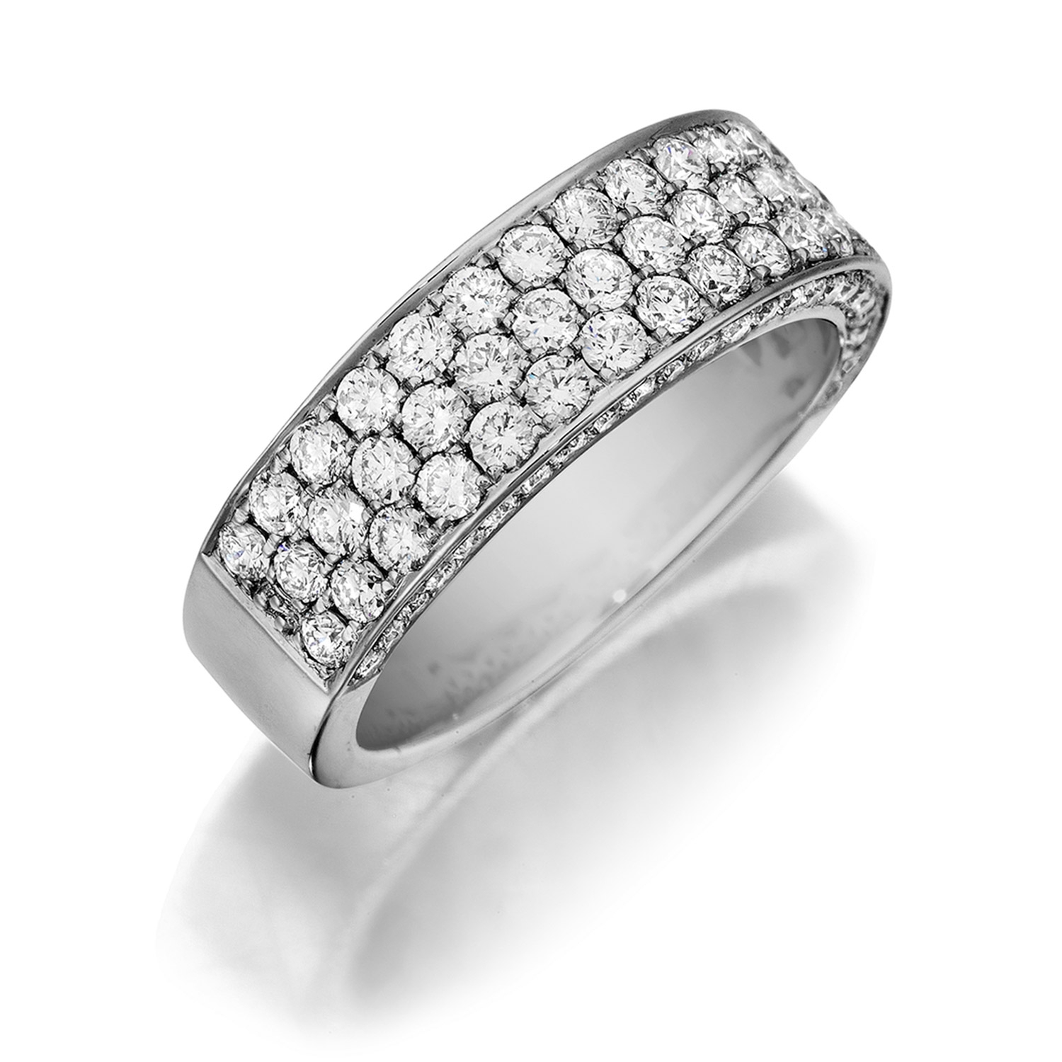 Henri Daussi R19 Triple Row Pave Set Diamond Band Inside 2017 Triple Row Micropavé Diamond Wedding Bands (View 17 of 25)