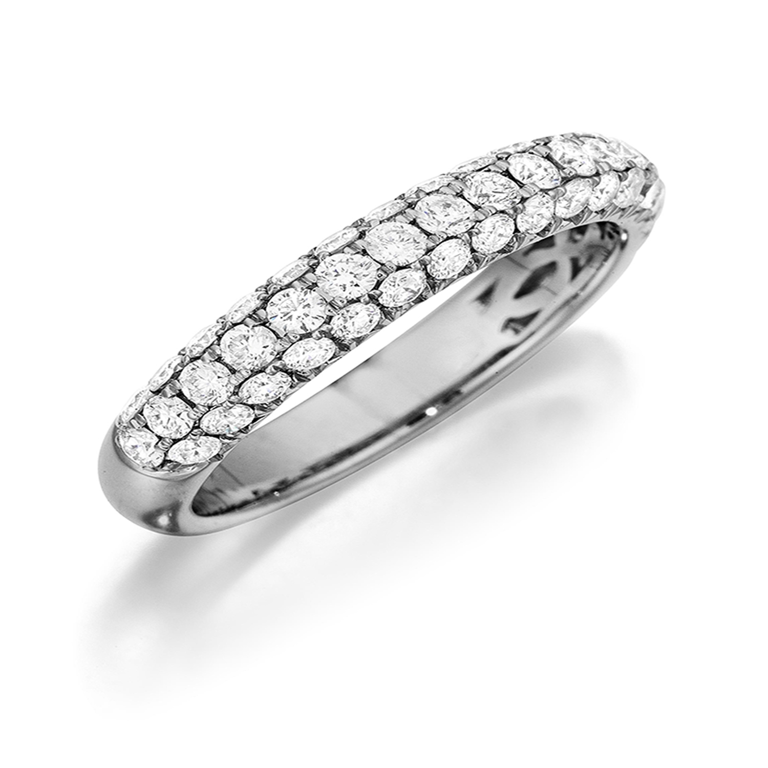 Henri Daussi R3 1 Triple Row Pave Diamond Band In Triple Row Micropavé Diamond Engagement Rings (View 7 of 25)