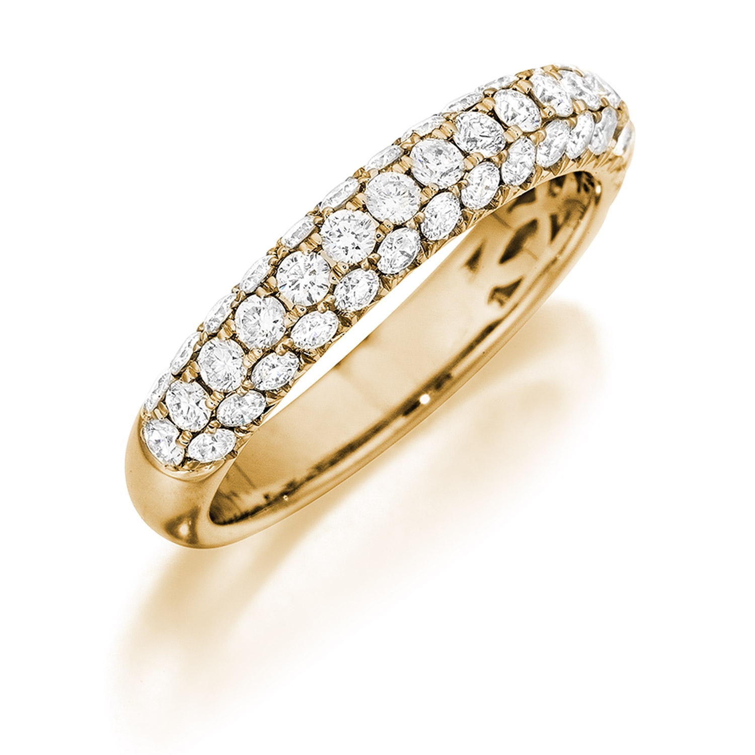 Henri Daussi R3 8 Triple Row Yellow Gold Pave Diamond Band Inside Triple Row Micropavé Diamond Engagement Rings (Gallery 25 of 25)