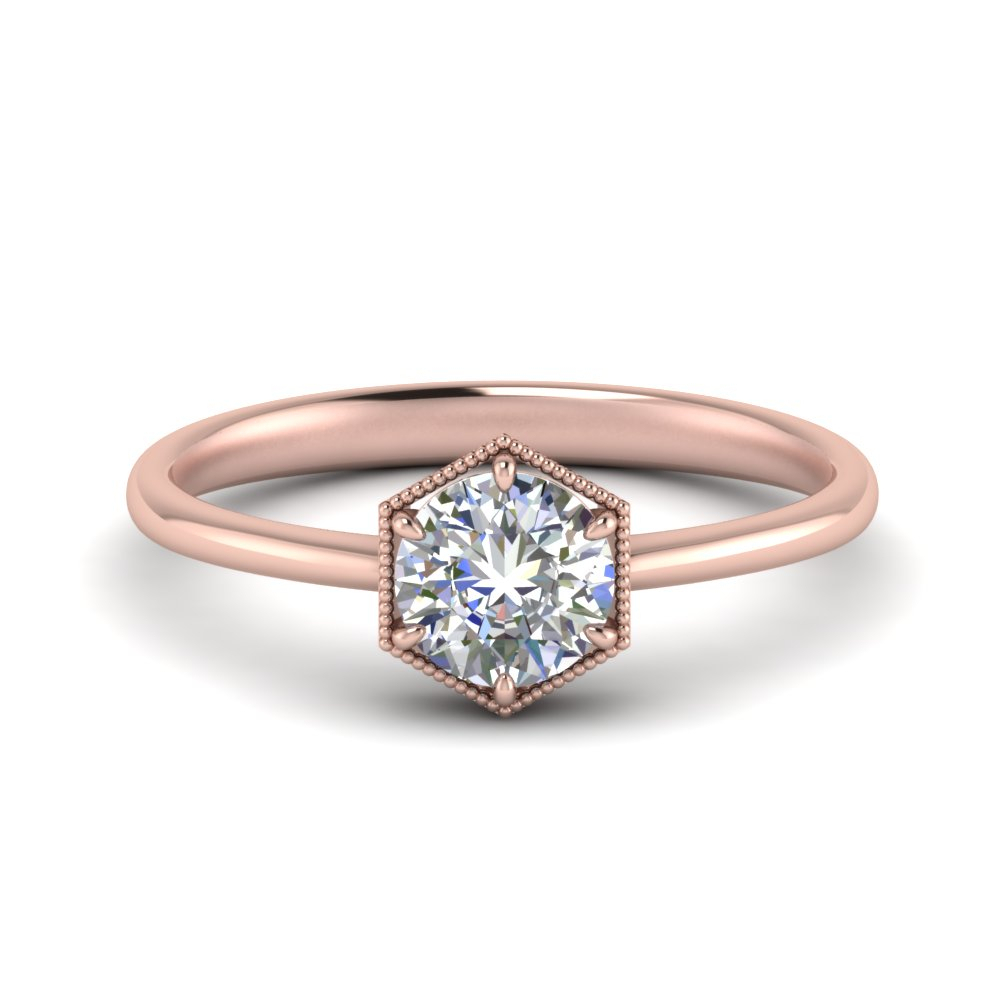 Hexagon Solitaire Ring Inside Solitaire Round Brilliant Engagement Rings (Gallery 19 of 25)