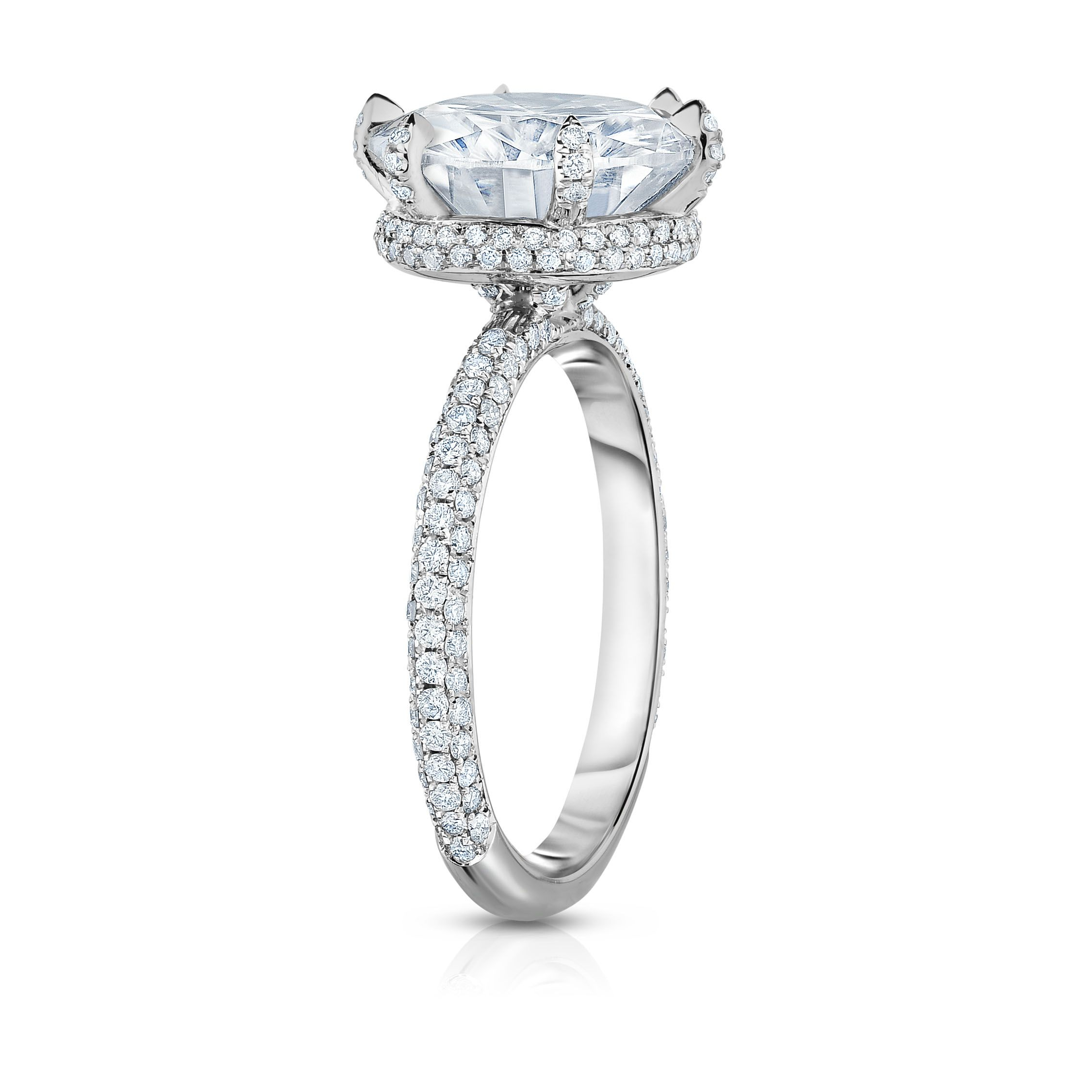 Hidden Halo Collection: Round Moissanite Atop A Three Row Intended For Triple Row Micropavé Diamond Engagement Rings (View 15 of 25)