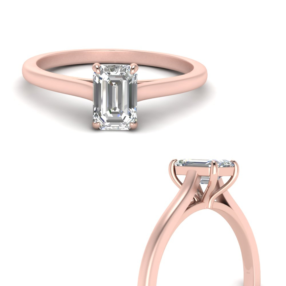 High Set Solitaire Ring In Solitaire Emerald Cut Engagement Rings (Gallery 20 of 25)