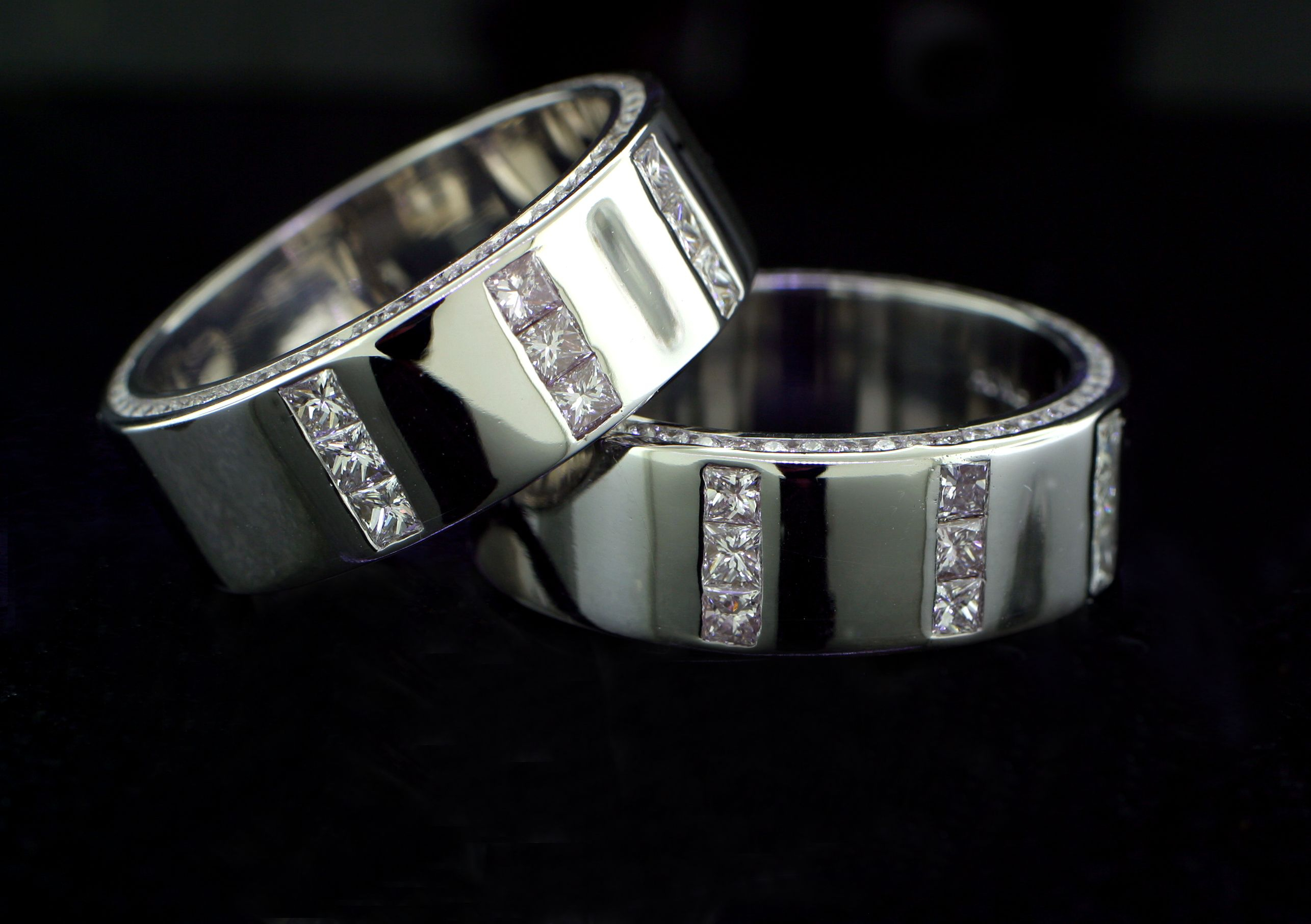 His And His Matching Wedding Bands In 14K White Gold. Each In Most Up To Date Vertical Diamond Row Wedding Bands (Gallery 21 of 25)