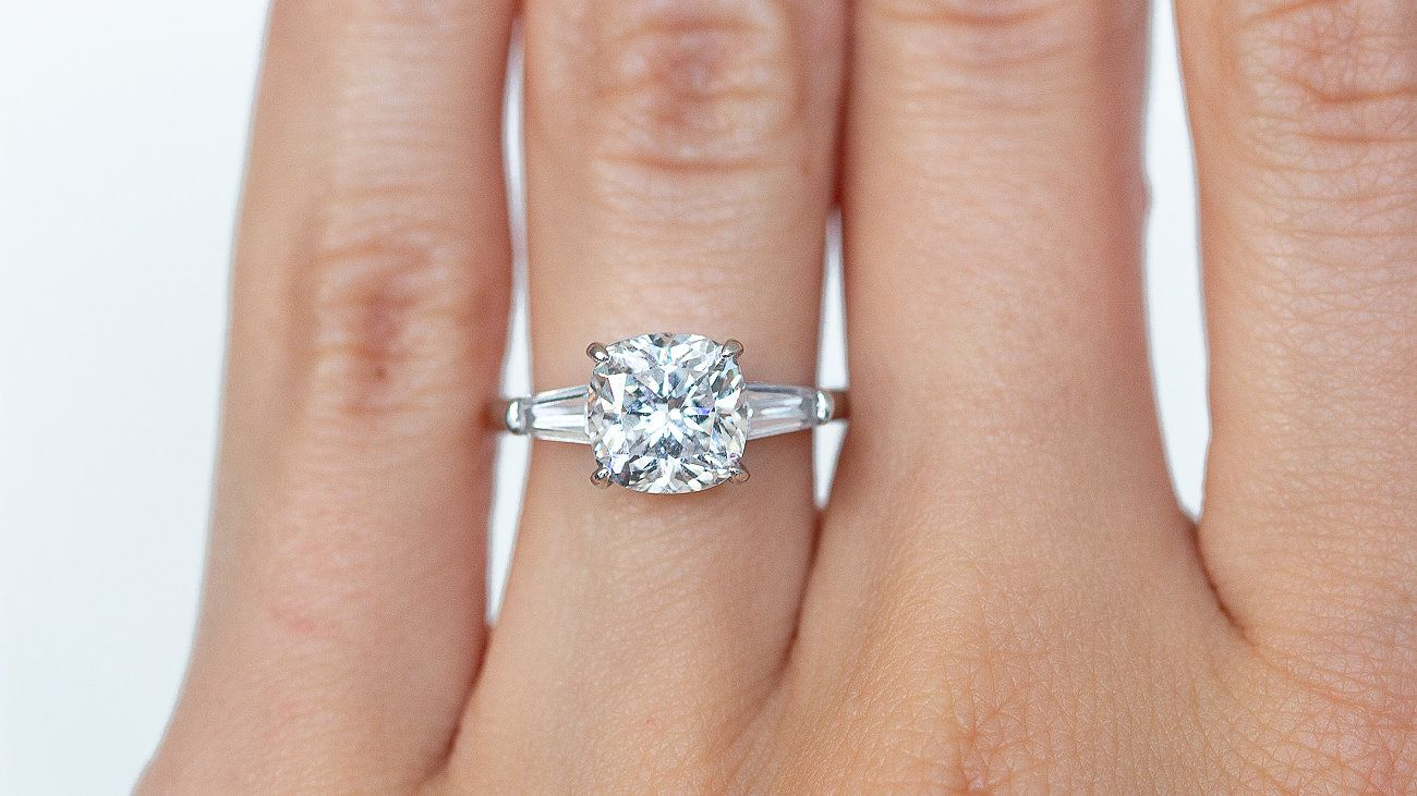 How Gorgeous Is This Crushed Ice Cushion Cut Beauty With With Cushion Cut Engagement Rings With Tapered Baguette Side Stones (View 17 of 25)