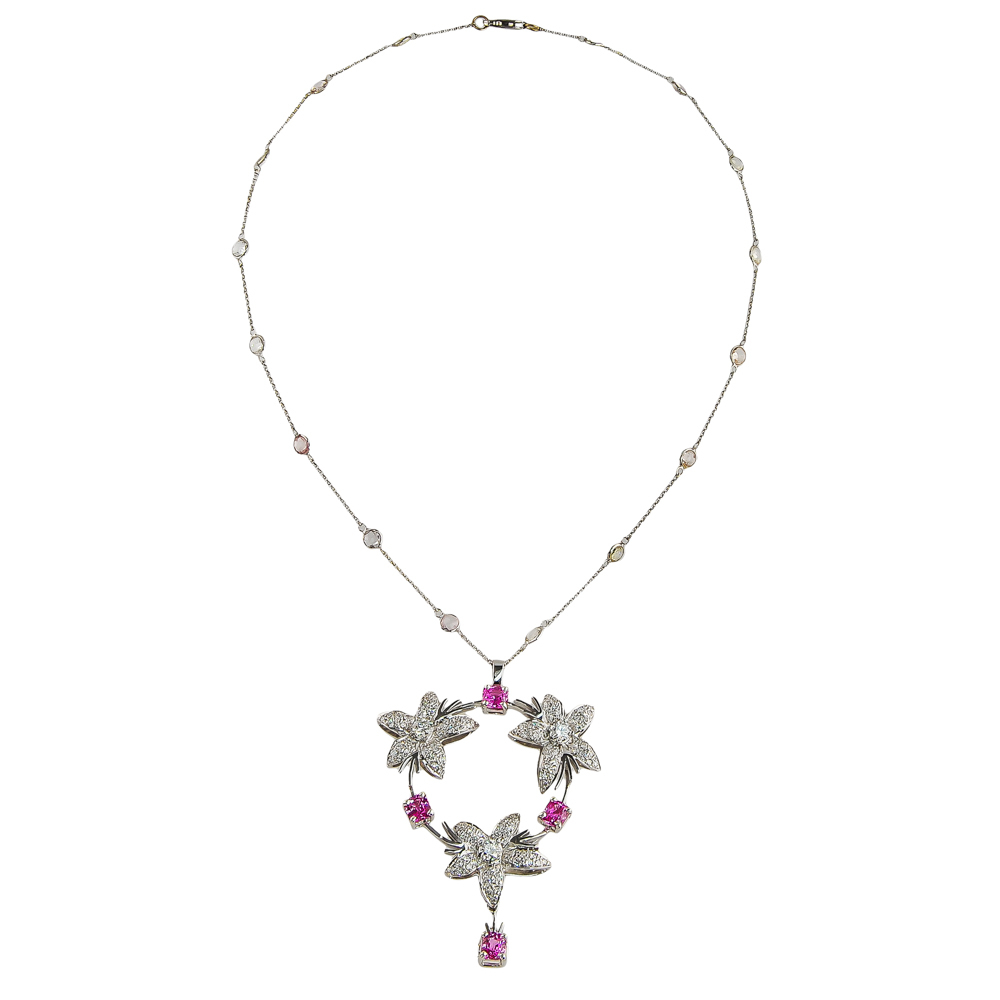 Jasmin Circle Pink Sapphire And Diamond Pendant Throughout Latest Lariat Pink Sapphire And Diamond Necklaces (Gallery 4 of 25)