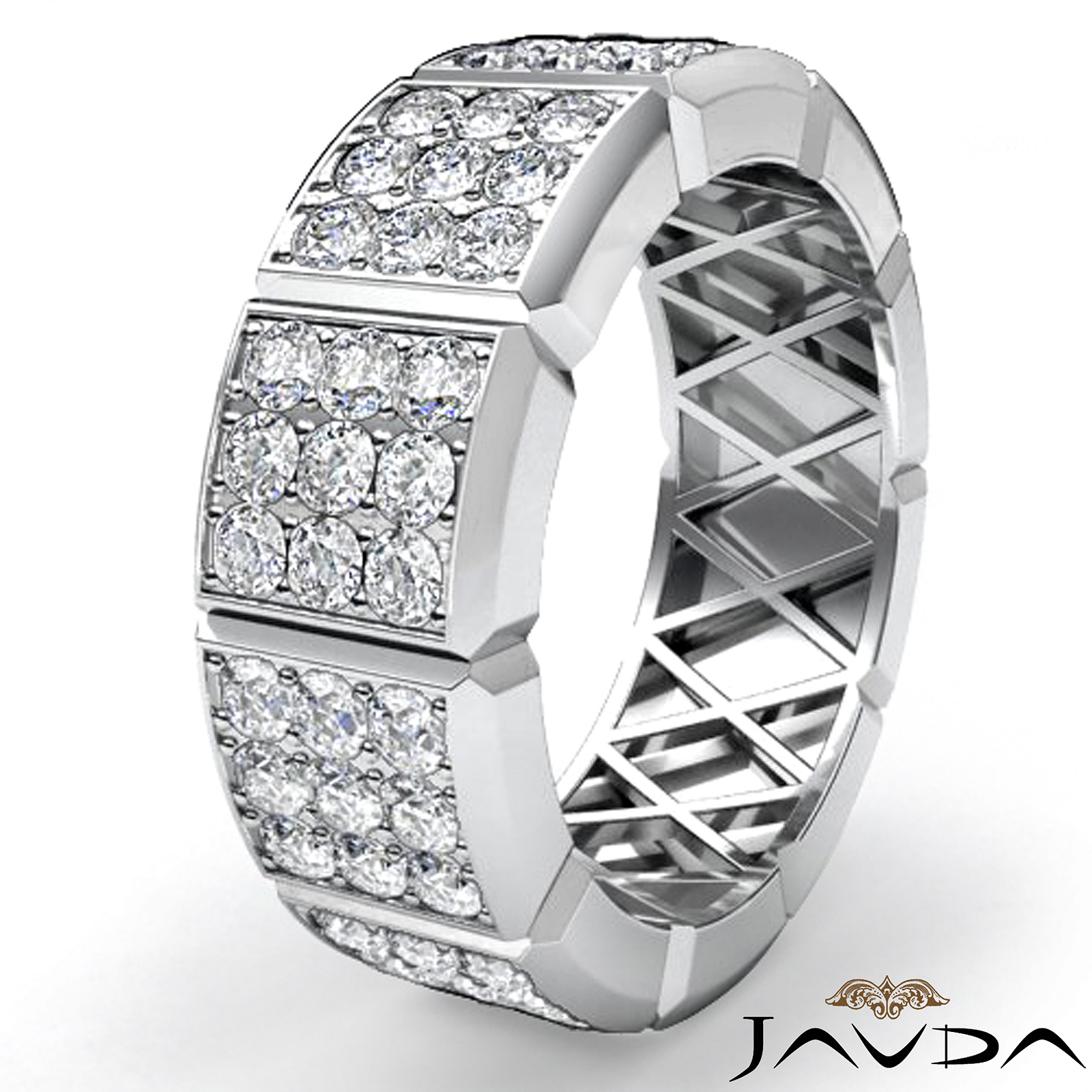 Javda – 1.90 Ct. 3 Row Round Diamond Vertical Cuts Men's Eternity Wedding  Band – Walmart Inside Latest Vertical Diamond Row Wedding Bands (Gallery 18 of 25)