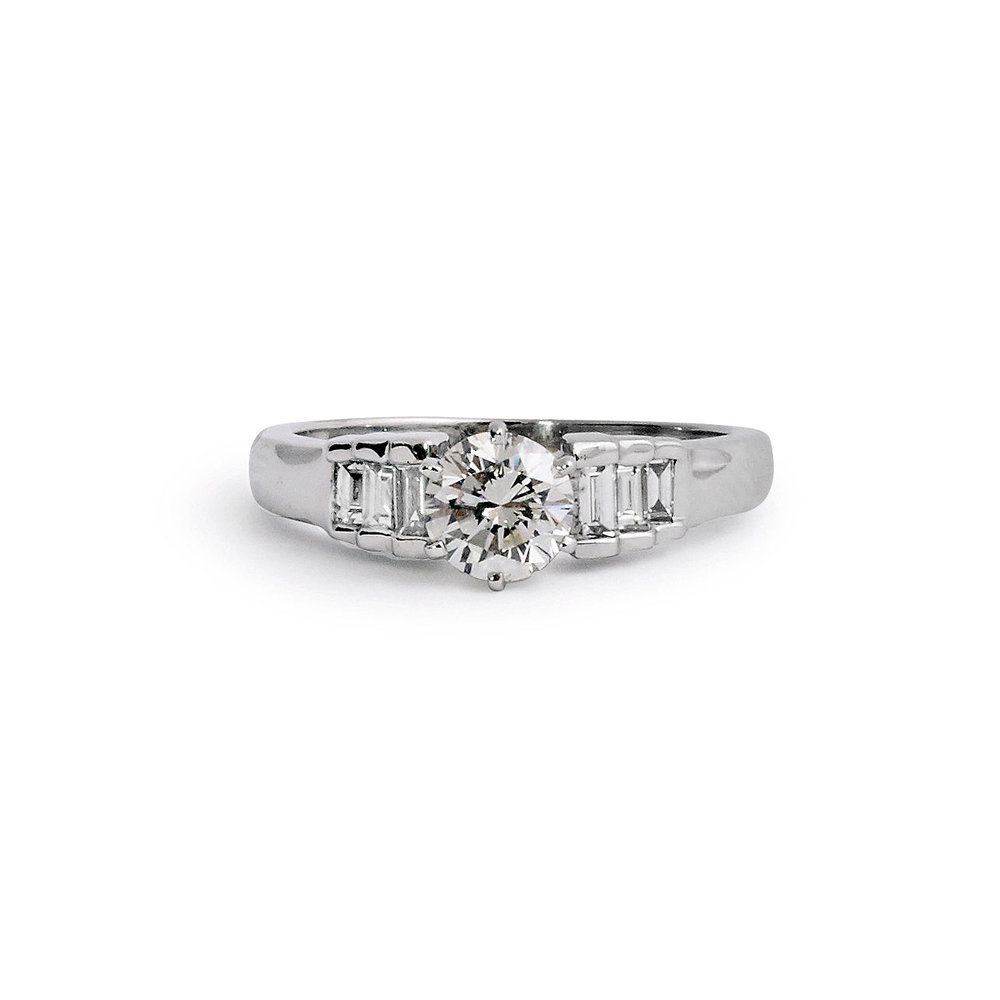 Jewelrymarsha — Round Brilliant Engagement Ring With Tapered Baguettes Pertaining To Round Brilliant Engagement Rings With Tapered Baguette Side Stones (View 11 of 25)