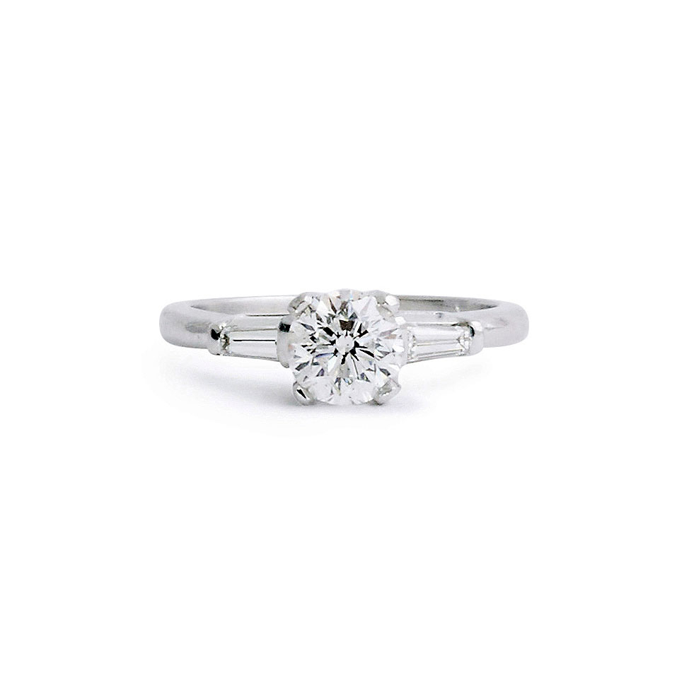 Jewelrymarsha — Round Brilliant Solitaire With Tapered Baguettes Intended For Round Brilliant Engagement Rings With Tapered Baguette Side Stones (View 17 of 25)